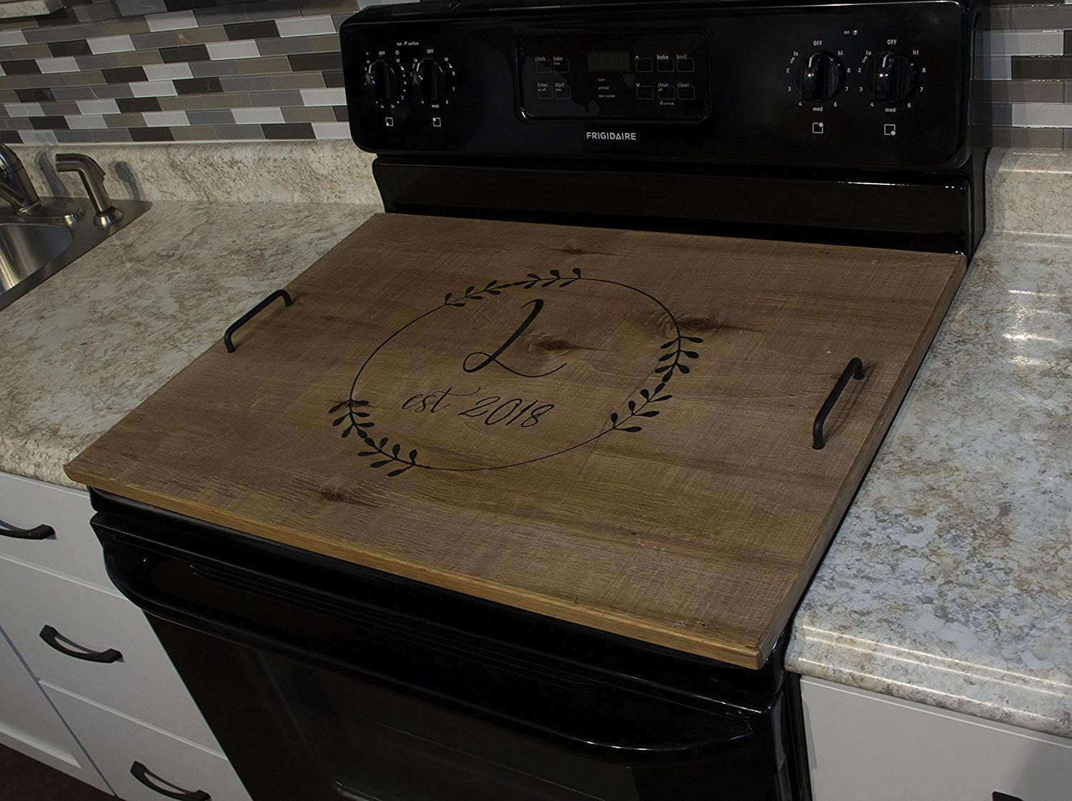 Modern Farmhouse Wood Stove Top Cover Noodle Board with personal initial