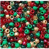 50 Christmas Stars Pony Beads Red Gold Green Glitter Hair Braiding Dummy Clips