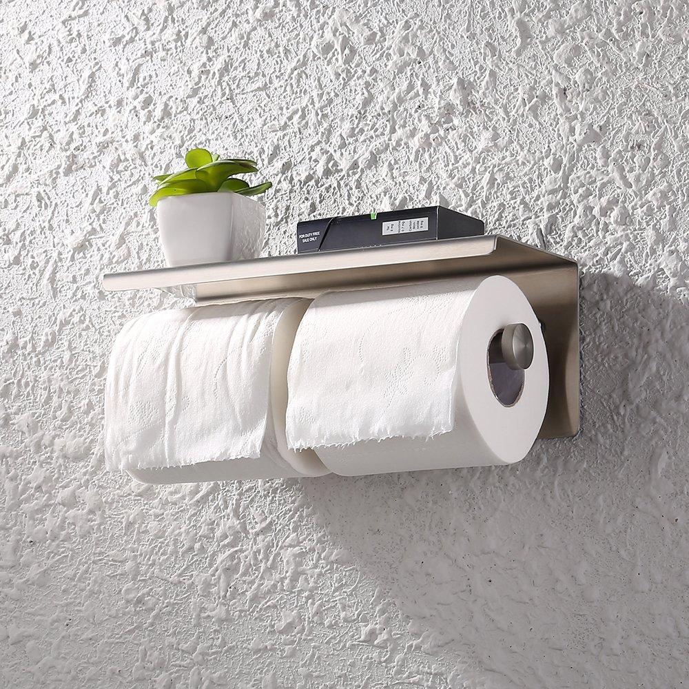 KES Dual Toilet Paper Holder RUSTPROOF Stainless Steel Bathroom Double Tissue Paper Towel Roll Holder Hanger Wall Mount Brushed Finish, BPH201S2-2