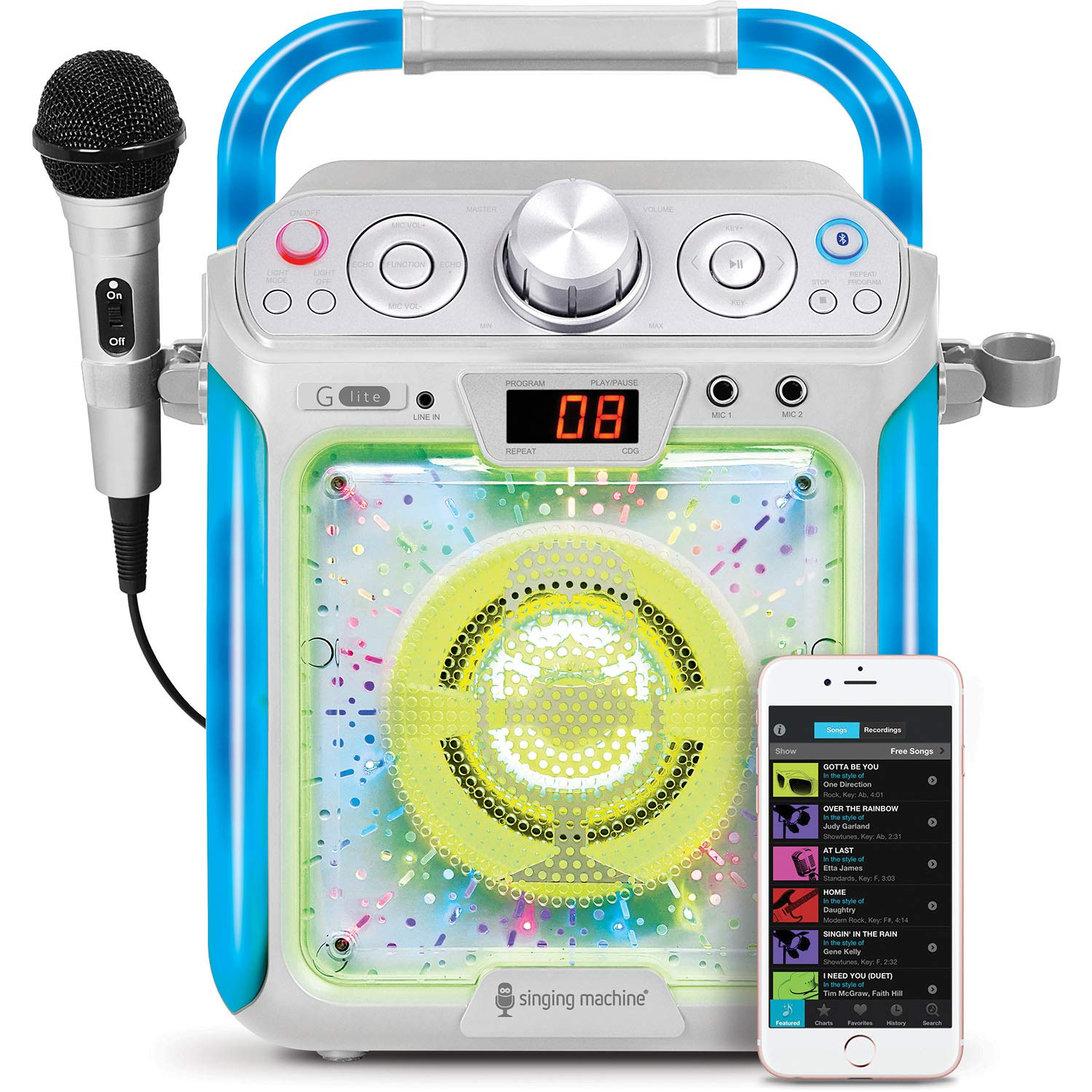 Singing Machine SML2082 Bluetooth G-Lite CD+G Karaoke System with Microphone - Silver