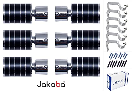 JAKABA Premium Wenge Finish Stainless Steel and Alloy Curtain Finials with Heavy Supports Brackets Set for Window/Door(JKB103WG-03) - Pack of 12