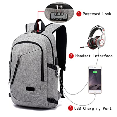Anti Theft Laptop Backpack, Business Travel Slim Durable Laptops Backpck w/ USB Charging Port & Headphone Interface, Water Resistant College School Bookbag Fits Under 15.6 inch Laptop and Notebook hot sale 2017
