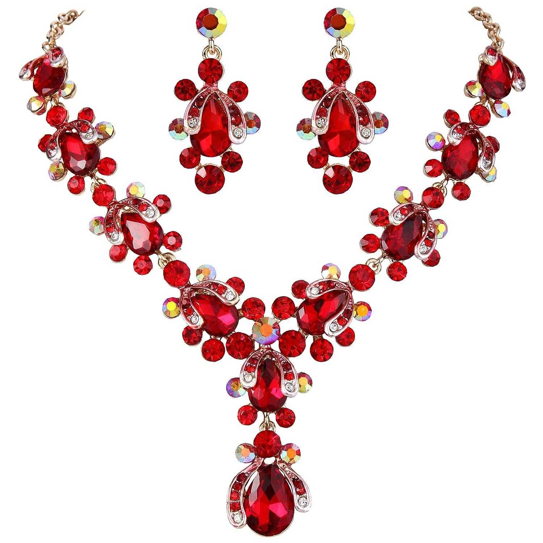 Ever Faith Rhinestone Crystal Art Deco Teardrop Floral Pendant Necklace Earrings Set Gold-Tone N09888-1