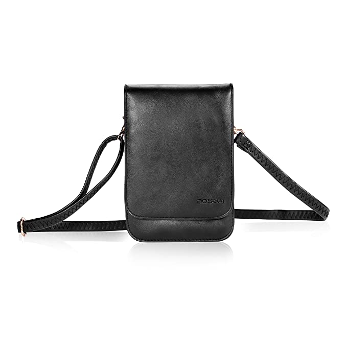 d2ece8758bd23 Bosam iPhone Xs 8 Plus Purses, Soft Leather  Cellphone-Bags-Crossbody-for-Woman with Shoulder Strap Touch View Window  (Black)