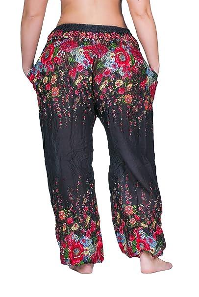 sunseta Hippie-Hose Damen Flower Haremshose Sommerhose Goa-Hose Aladin-Hose  Pumphose Pluderhose Stoffhose Boho (Schwarz, Einheitsgrößen XS - M)   Amazon.de  ... 089aa69d97