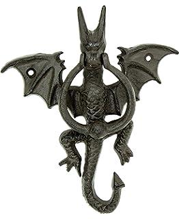 7 Inch Dragon Gargoyle Bust Resin Door Knocker Statue Figurine