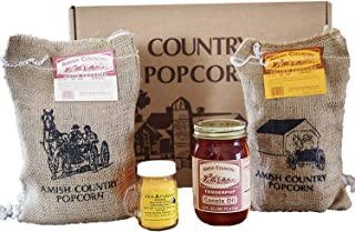 product image for Amish Country Popcorn | 4 lb Burlap Variety Set | 2 lbs Medium White and 2 lbs Yellow Popcorn Kernels - 4.5 oz Ballpark Style ButterSalt and 16 oz Canola Oil | Old Fashioned with Recipe Guide