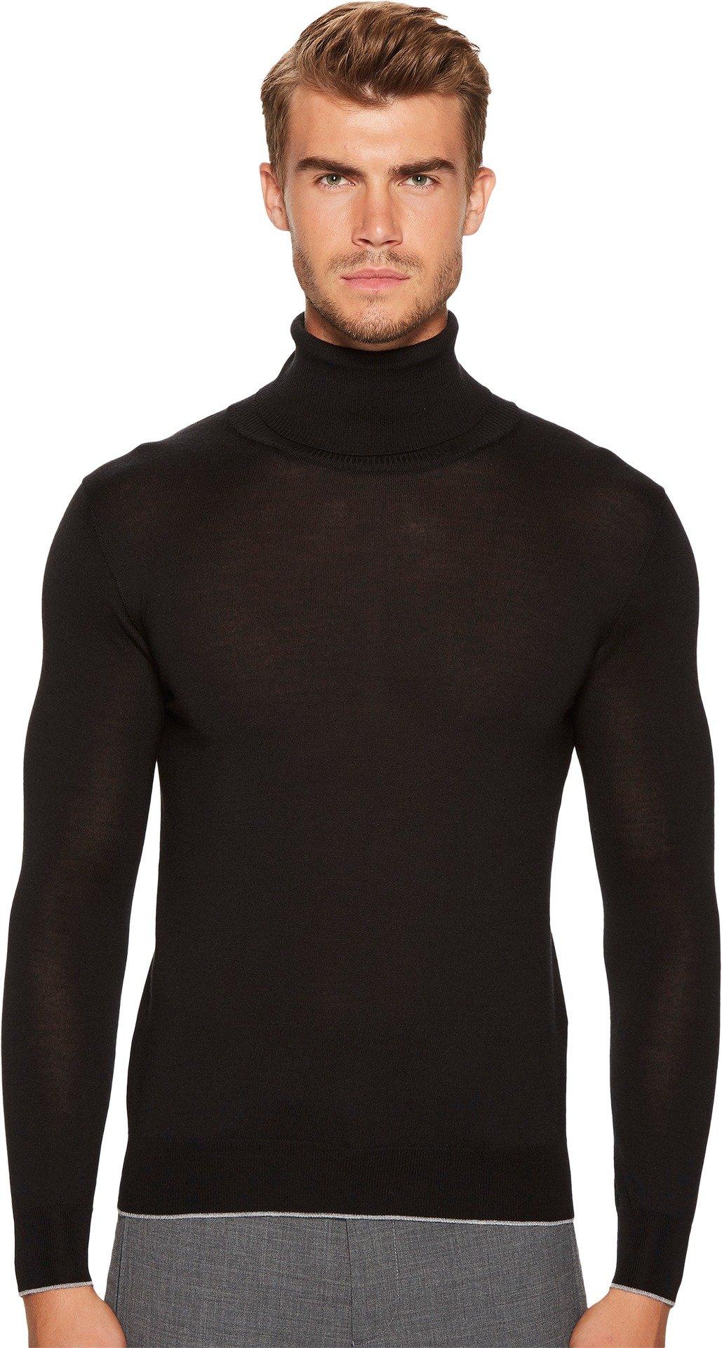 eleventy Men's Fine Gauge Turtleneck Black Sweater