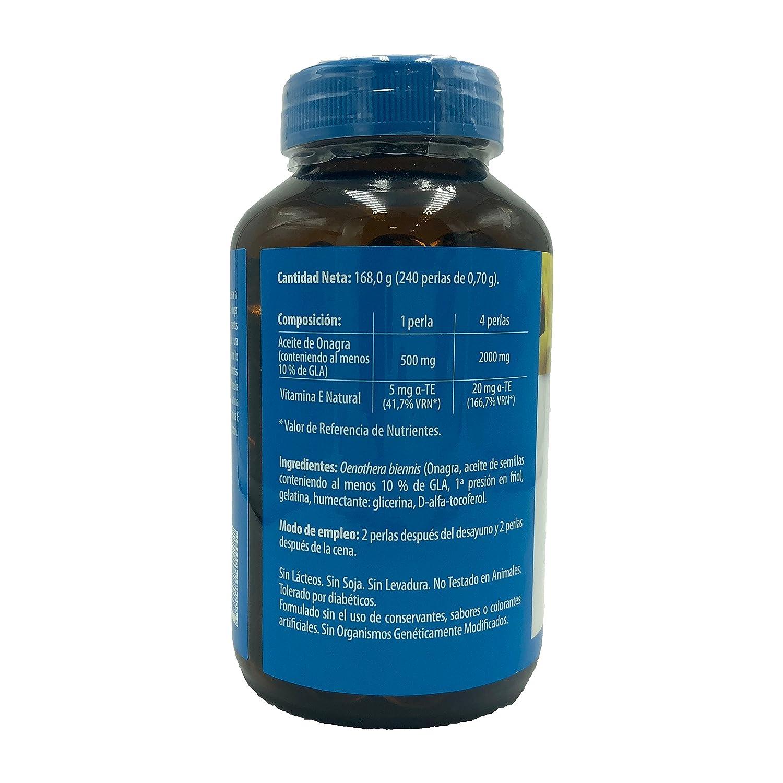 Aceite de onagra 500 mg 240 perlas + vitamina E naturmil sin gluten, sin lactosa, sin azúcar, sin almidón, libre OGM, 10% gla: Amazon.es: Salud y cuidado ...
