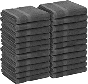 Utopia Towels Grey Salon Towels, Pack of 24 (Not Bleach Proof, 16 x 27 Inches) Highly Absorbent Towels for Hand, Gym, Beauty, Hair, Spa, and Home Hair Care
