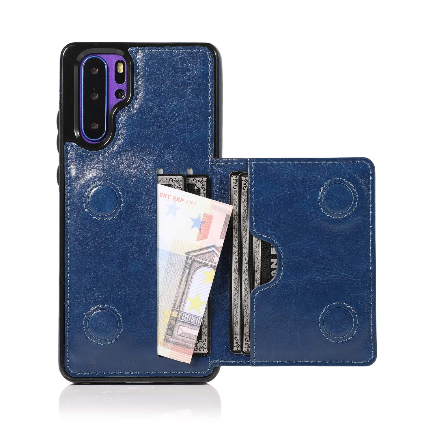 Huawei P30 Pro Case, Ranyi Slim Flip Wallet Case with Credit Card Holder Slots Premium PU Leather Magnetic Clasp Flip Folio Wallet Protective Case Cover for Huawei P30 Pro (2019), Blue by Ranyi