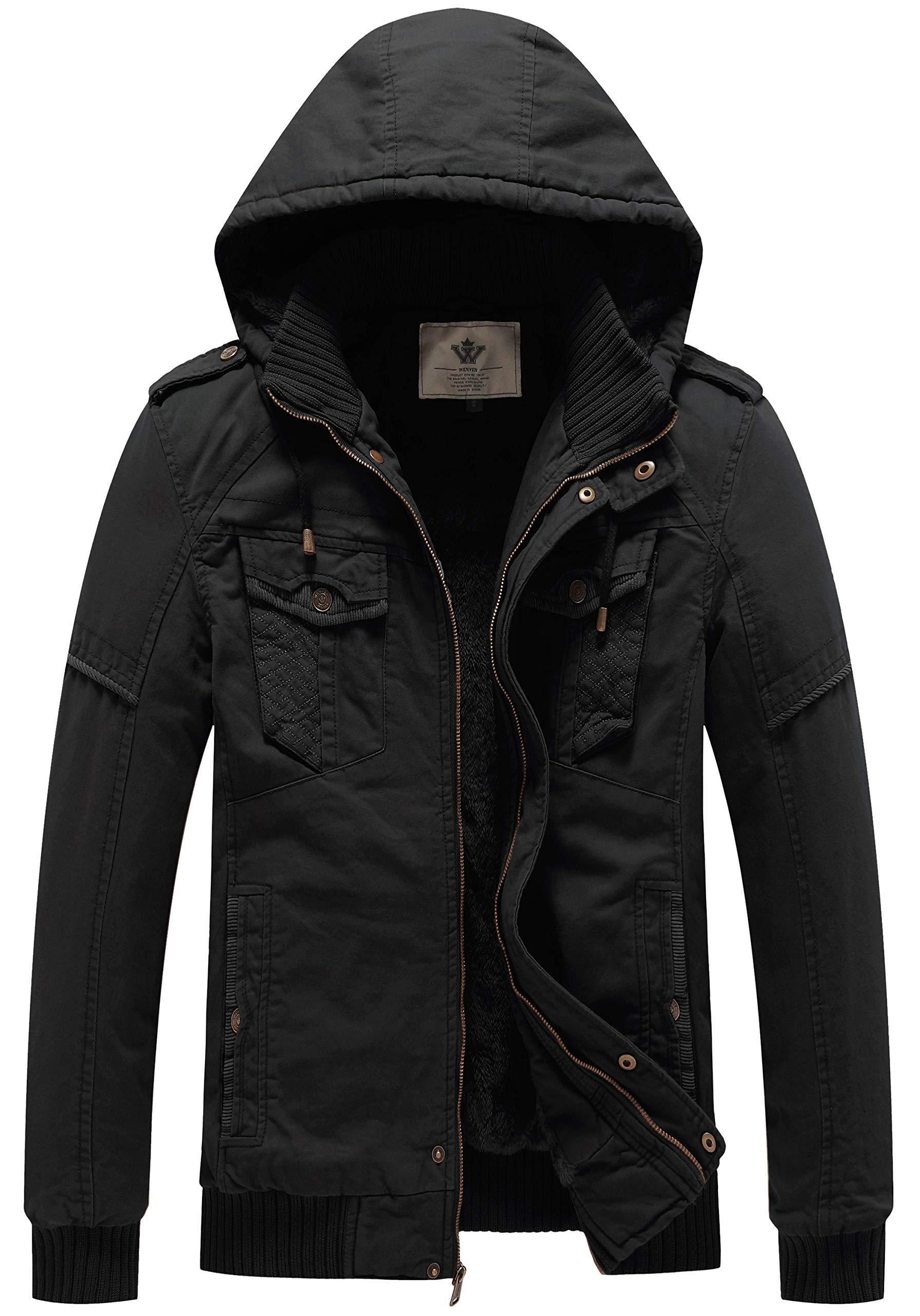 WenVen Men's Winter Fleece Jacket with Hood Thicken Coat (Black,3XL) by WenVen
