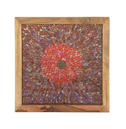 Deco 79 42223 Mosaic Wooden Wall Decor 24 X 24 Brown Multi Color