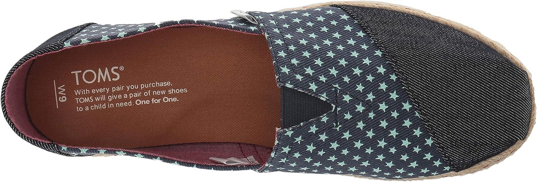 TOMS Moroccan Crochet Alpargata ESP, Espadrillas Donna Suola In Denim Navy Stars Rope