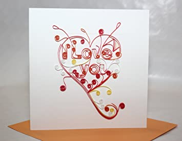 Amazon Com Handmade Quilling Card Love Valentine Card Office