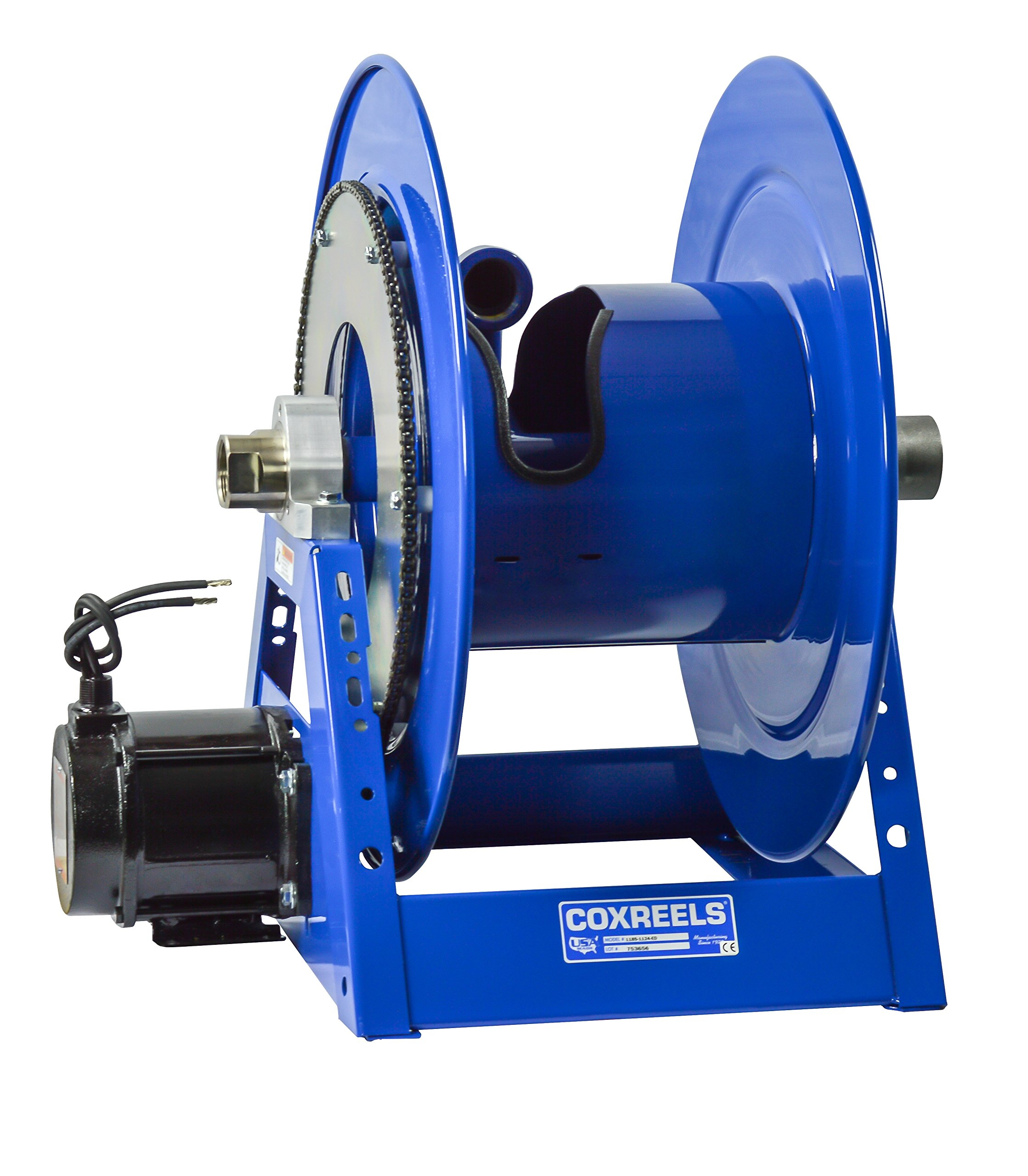 Coxreels 1185-2528-ED Electric 12V DC Explosion Proof 1/2HP Motor Rewind Hose Reel: 1 1/2'' I.D., 150' hose capacity, less hose, 600 PSI by Coxreels