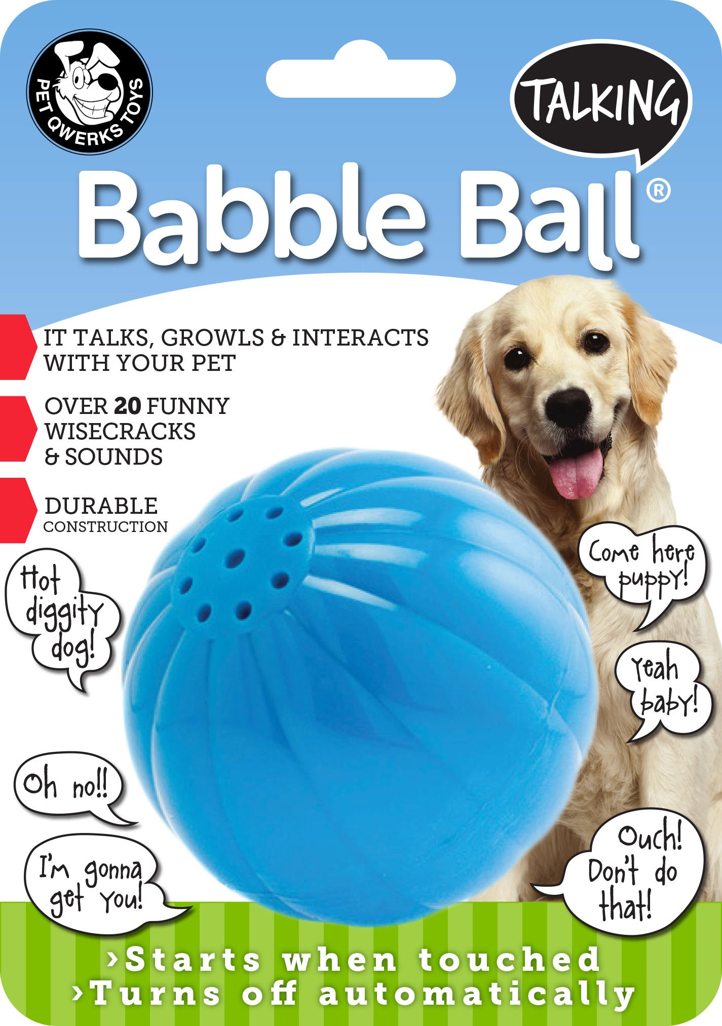 Pet Qwerks Talking Babble Ball Dog Toy Large