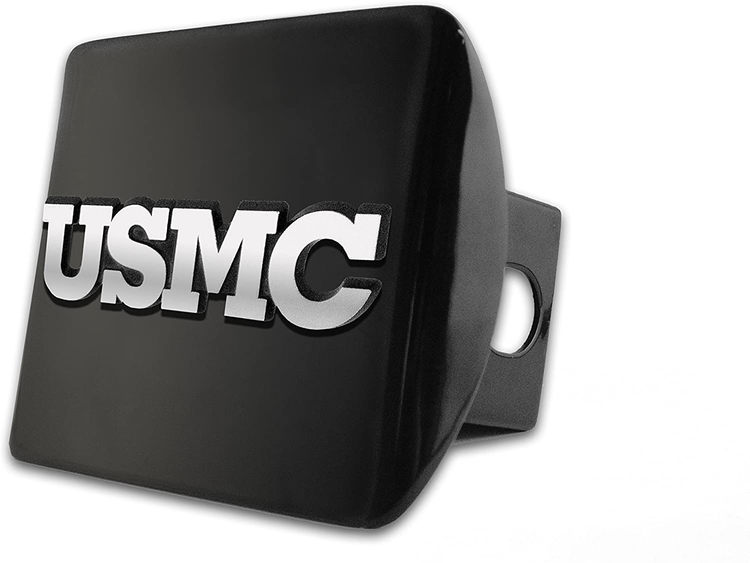 AMG United States US Marine Corps USMC Black with Gold Plated USMC Seal Emblem Metal Trailer Hitch Cover Fits 2 Inch Car Truck Receiver MRN-SL-BLK-HRC
