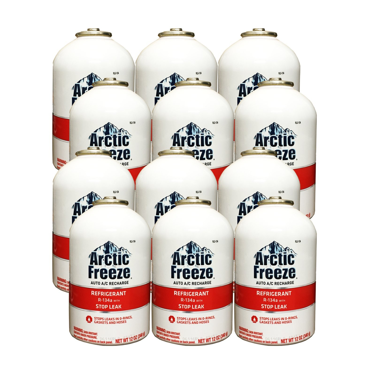 Arctic Freeze (RLS-134T) Refrigerant R-134a with Stop Leak 12 oz (12 Cans) by ARCTIC