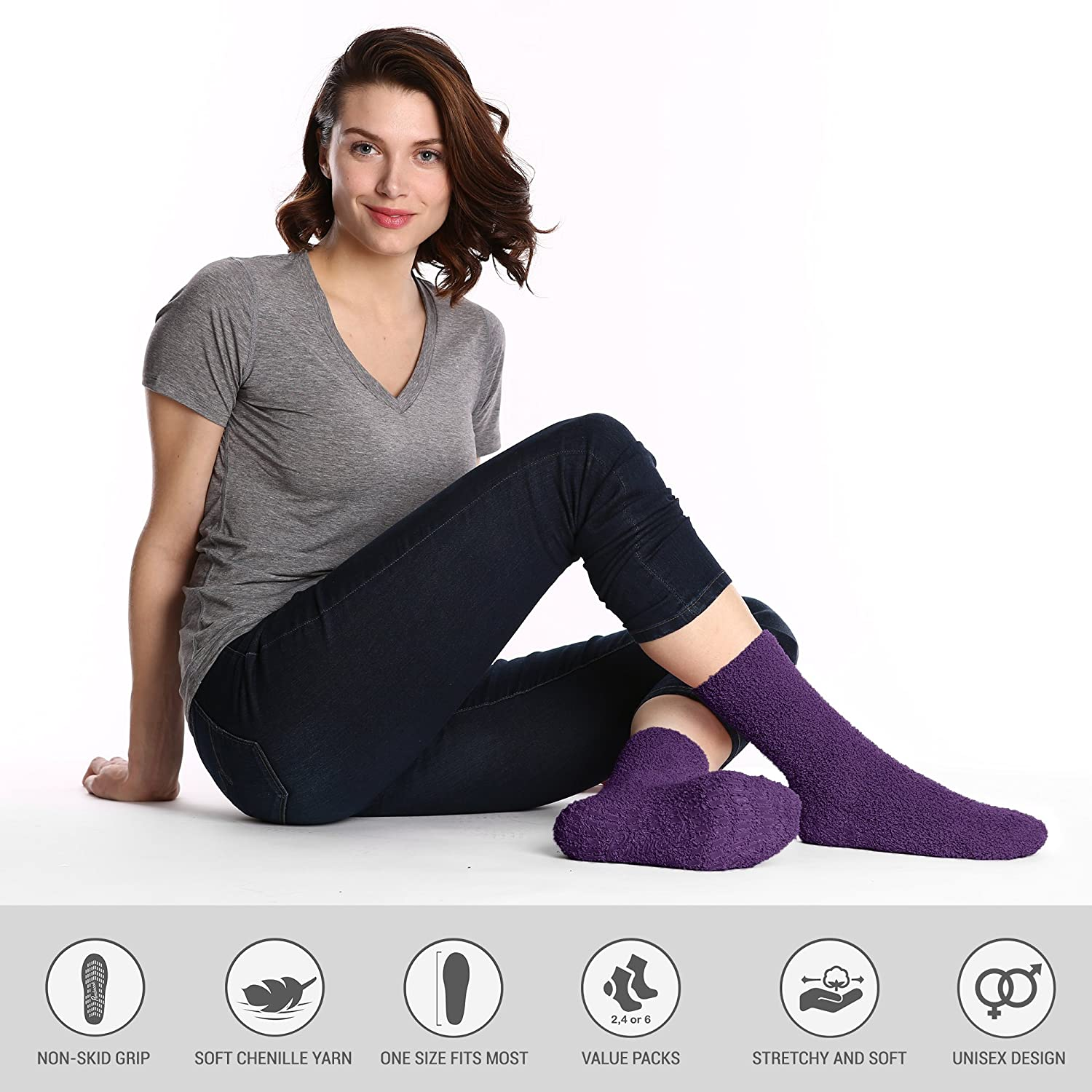 4-Pack and 6-Pack Pembrook Non Skid Slip Socks Available in 2-Pack