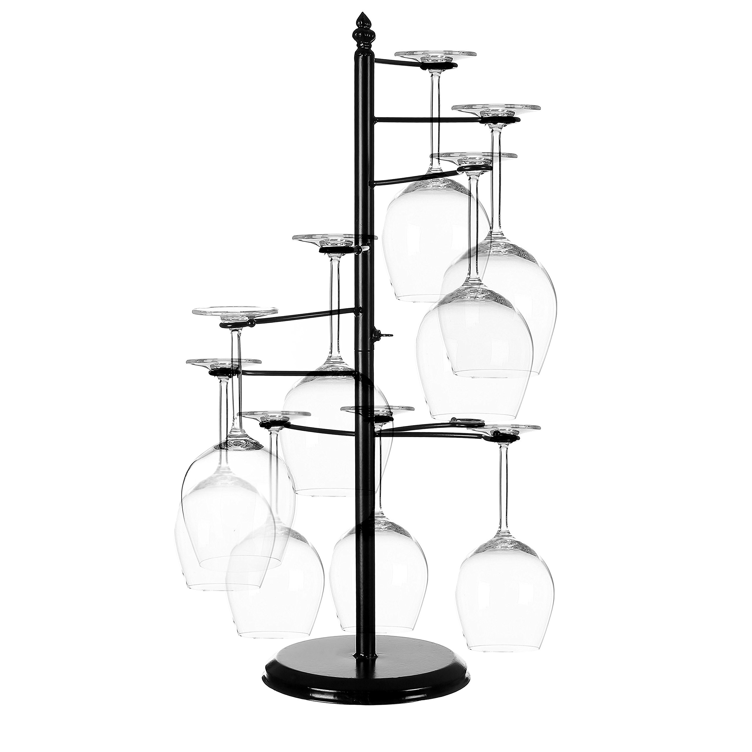 MyGift Freestanding Tabletop Stemware Rack / Spiraling 10 Wine Glass Holder, Black