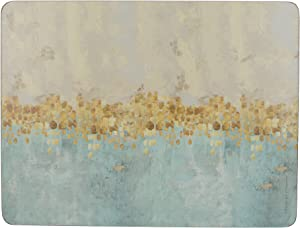 Creative Tops 'Golden Reflections' Printed Rectangular Cork-Backed Placemats, 30 x 22.75 cm - Gold (Set of 6)