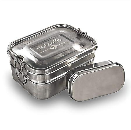 Volantis Caja de Acero Inoxidable Fiambrera Acero Inoxidable – Fiambrera para Viajes – Fiambrera para el Transporte de Comida – Fiambrera con ...