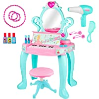 Kiddie Play Pretend Play Kids Vanity Table and Beauty Play Set with Piano, Chair and Fashion Makeup Accessories for…