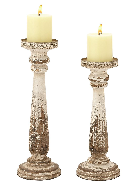 Deco 79 44410 Wood Candle Holder, Set of 2 Benzara