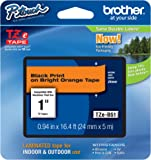 Brother Laminated Black on Fluorescent Orange 1 Inch Tape - Retail Packaging (TZeB51) - Retail Packaging
