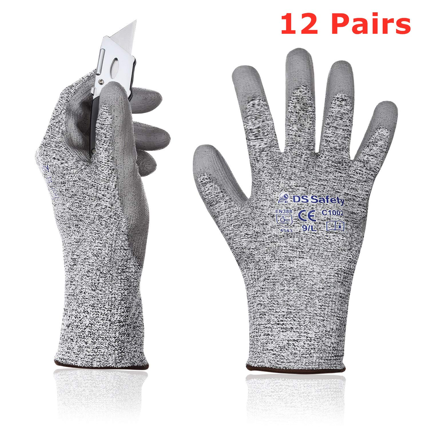 DS Safety C1002 Cut Resistant Work Gloves High Performance Level 5 Protection PU Coated Work Gloves with Durable Power Grip Foam Coated 7D Comfort Stretch Fit Work Gloves Grey 12Pairs(L)