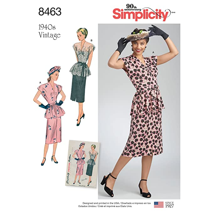 1940s Sewing Patterns – Dresses, Overalls, Lingerie etc Simplicity Vintage US8463H5 Dresses H5 (6-8-10-12-14) $7.46 AT vintagedancer.com
