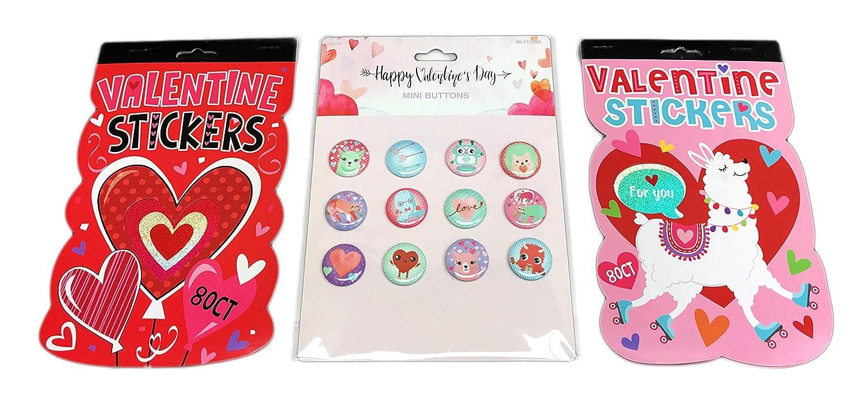 Happy Valentines Day Sticker Books /& 12 Piece Mini Button Novelty Pins Fun Valentines Themed Bundle Momentum Brands
