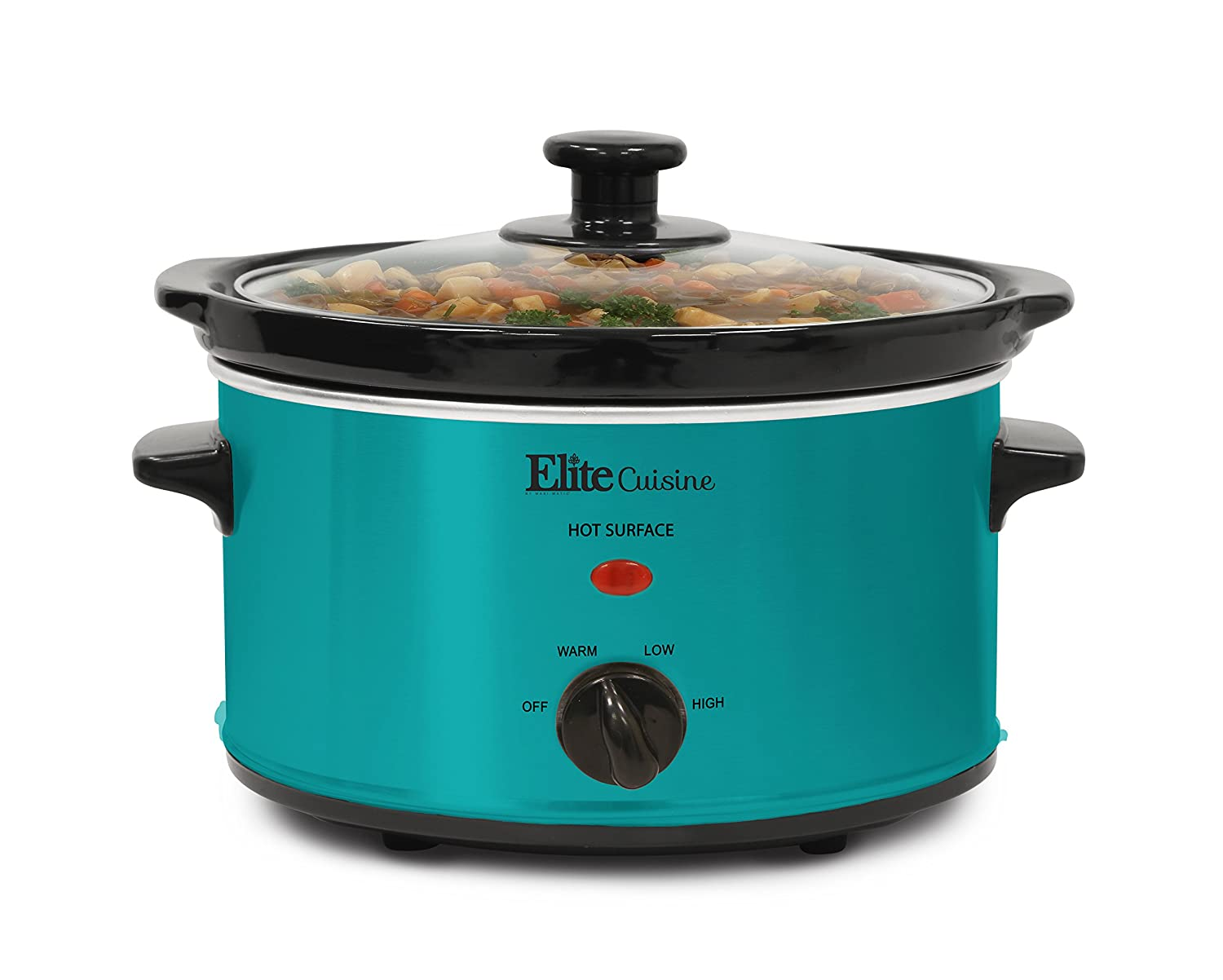 Elite Cuisine MST-275XT Electric Slow Cooker, Adjustable Temp, Entrees, Sauces, Stews and Dips, Dishwasher-Safe Glass Lid & Ceramic Pot, 2Qt Capacity, Teal