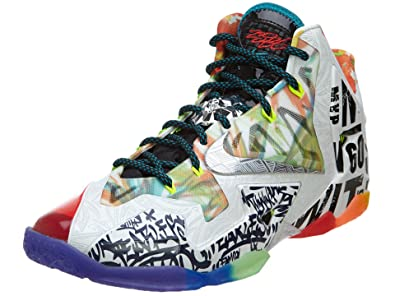 3f5f9654aa8af Nike Mens Lebron XI Premium What The Lebron Black Lava Silver-Galaxy Blue