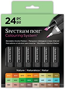 Darice Markers-24 Pc Spectrum Noir Colouring System Alcohol Marker Dual Nib Pens Box Set - Nature - Pack of 24