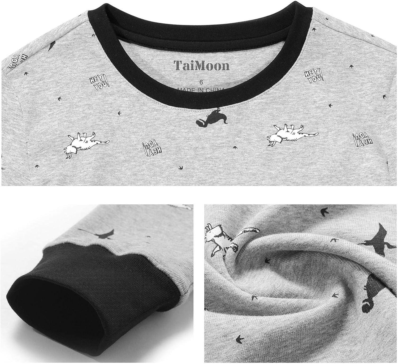 5 To16 Years Old TaiMoon Boys and Girls Long Sleeve Pajamas Sets Sleepwear Nightwear 2 Piece Pjs Set