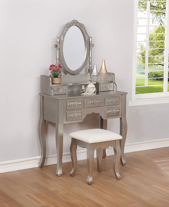 Coaster Home Furnishings 2-Piece Metallic Silver and White Vanity Set, 59