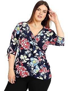 e537358679ebde Lovedrobe GB Women s Plus Size Coral Stripe Longline Shirt  Amazon ...