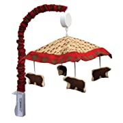 Trend Lab Northwoods Bear Musical Crib Mobile, Baby Mobile, Red/Buffalo Check Nursery Décor