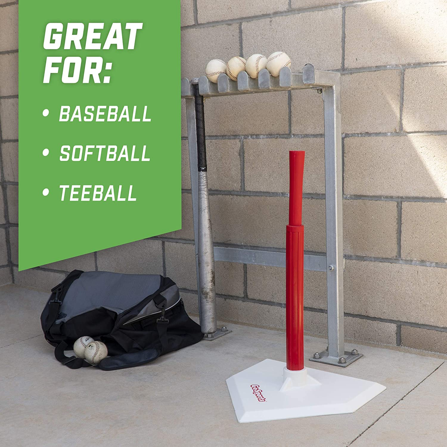 GoSports Baseball /& Softball Batting Tee Adjustable Height Rubber Tee for All Leagues and Skill Levels