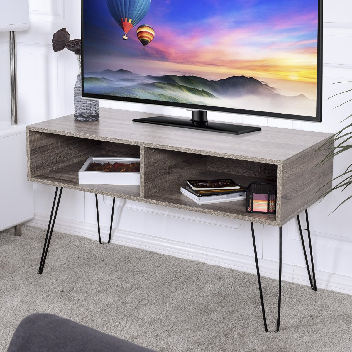 TANGKULA 42'' TV Stand Home Retro W/Metal Hairpin Legs Media Console