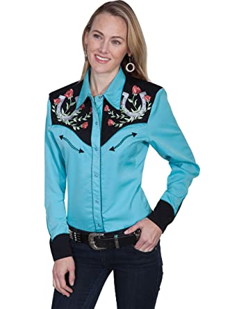 109883371dac31 Scully Women's Horseshoe Embroidered Retro Western Shirt at Amazon Women's  Clothing store: