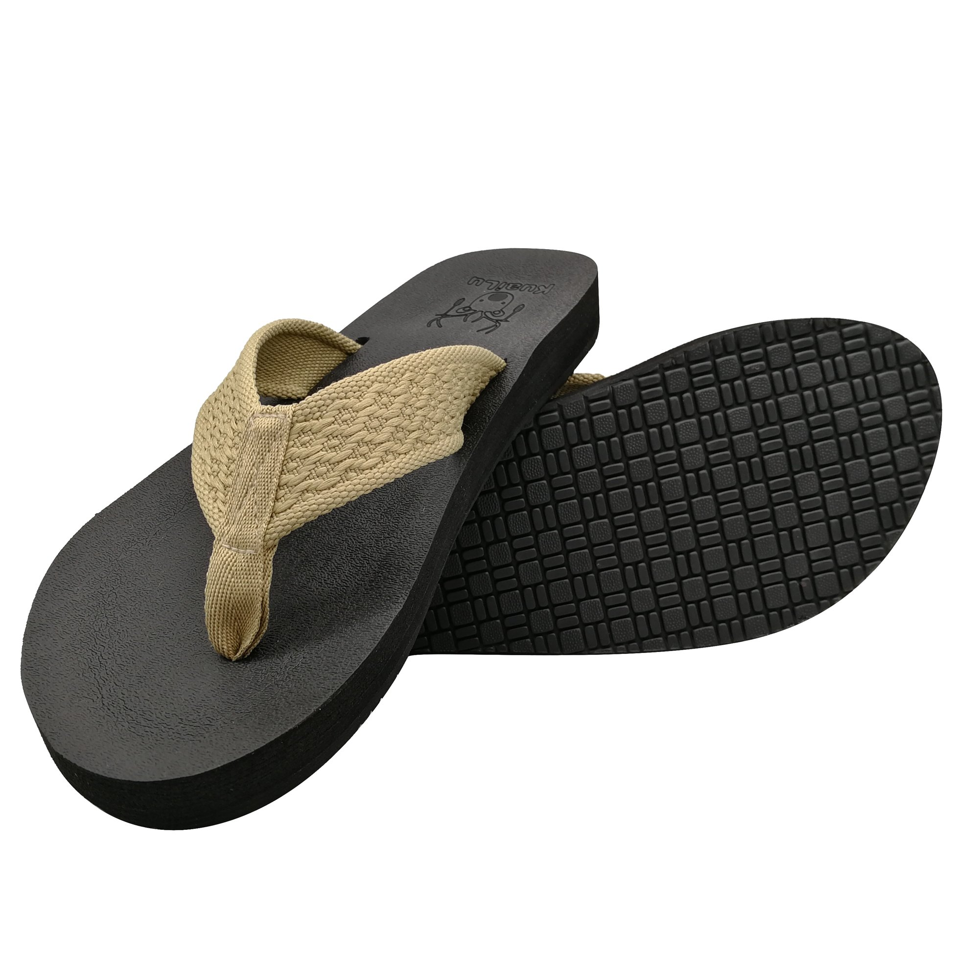 KuaiLu Men's Yoga Mat Flip Flop Nylon Strap Cushioned Foam Thong Sandals Anti Slip