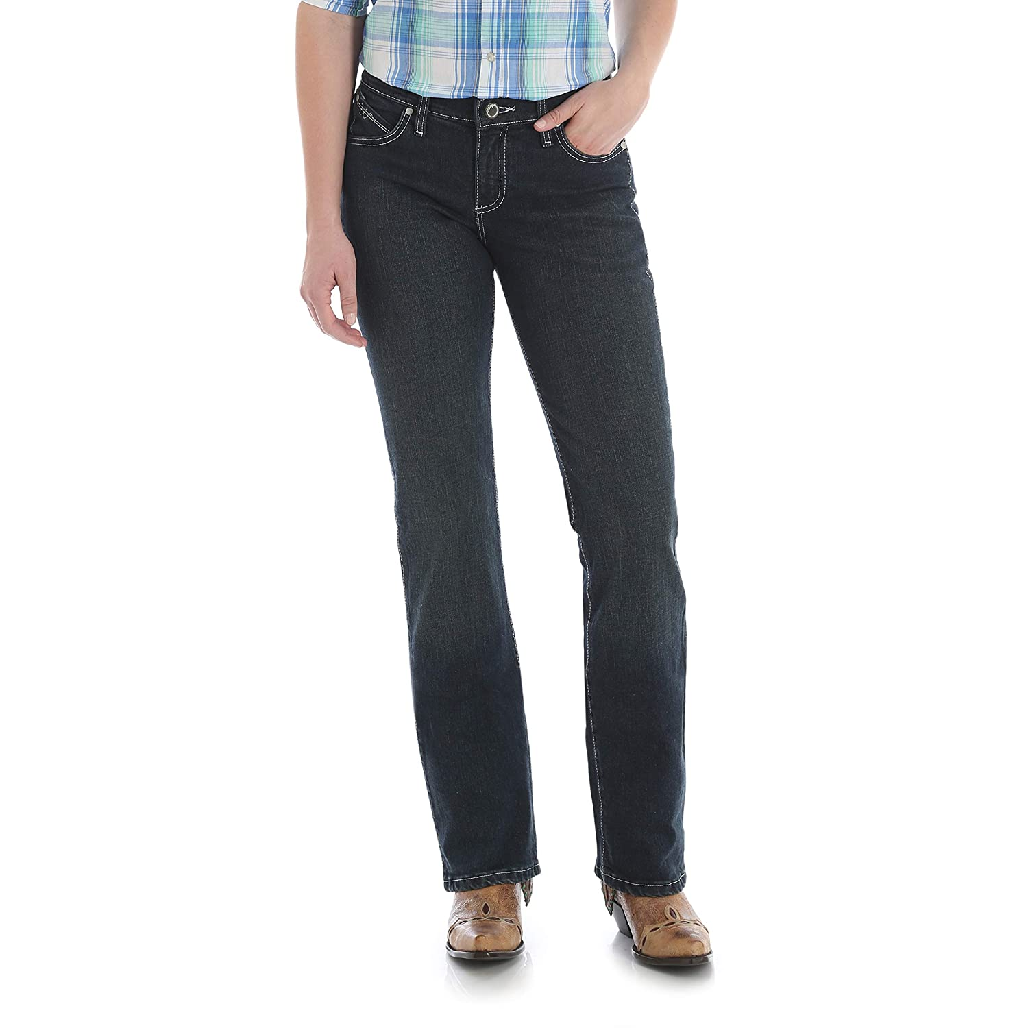 Wrangler Womens Womens Q-Baby Mid Rise Boot Cut Ultimate Riding Jean