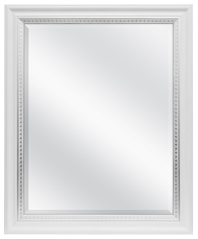 MCS 22 x 28 inch Beveled Wall Mirror White Wood Grain Finish SilverTrim