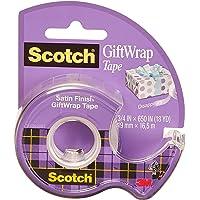Scotch cadeauverpakkingstape op een dispenser - 1 rol - 19 mm x 15 m - gesatineerd, doorzichtig plakband voor gebruik op…