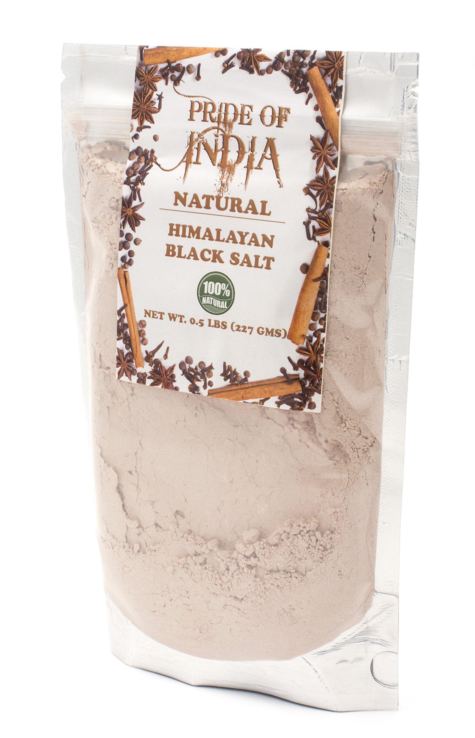 Pride Of India - Himalayan Black Salt (Kala Namak) Extra Fine - 84+ Natural Mineral Enriched, Half Pound