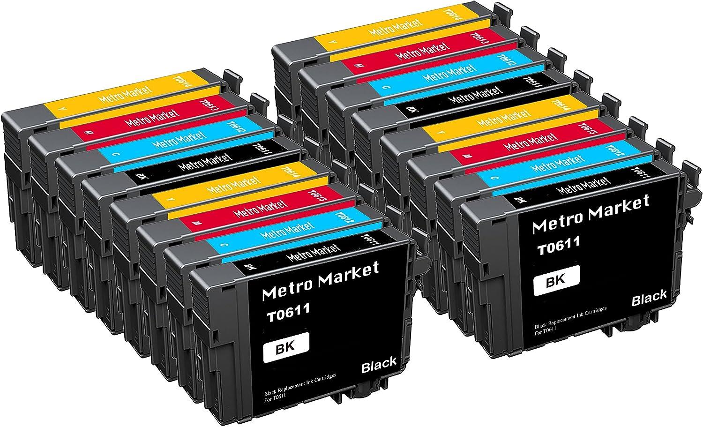 Metro Market 16 Piezas Reemplazo para Epson T0611-T0614 (T0615 ...