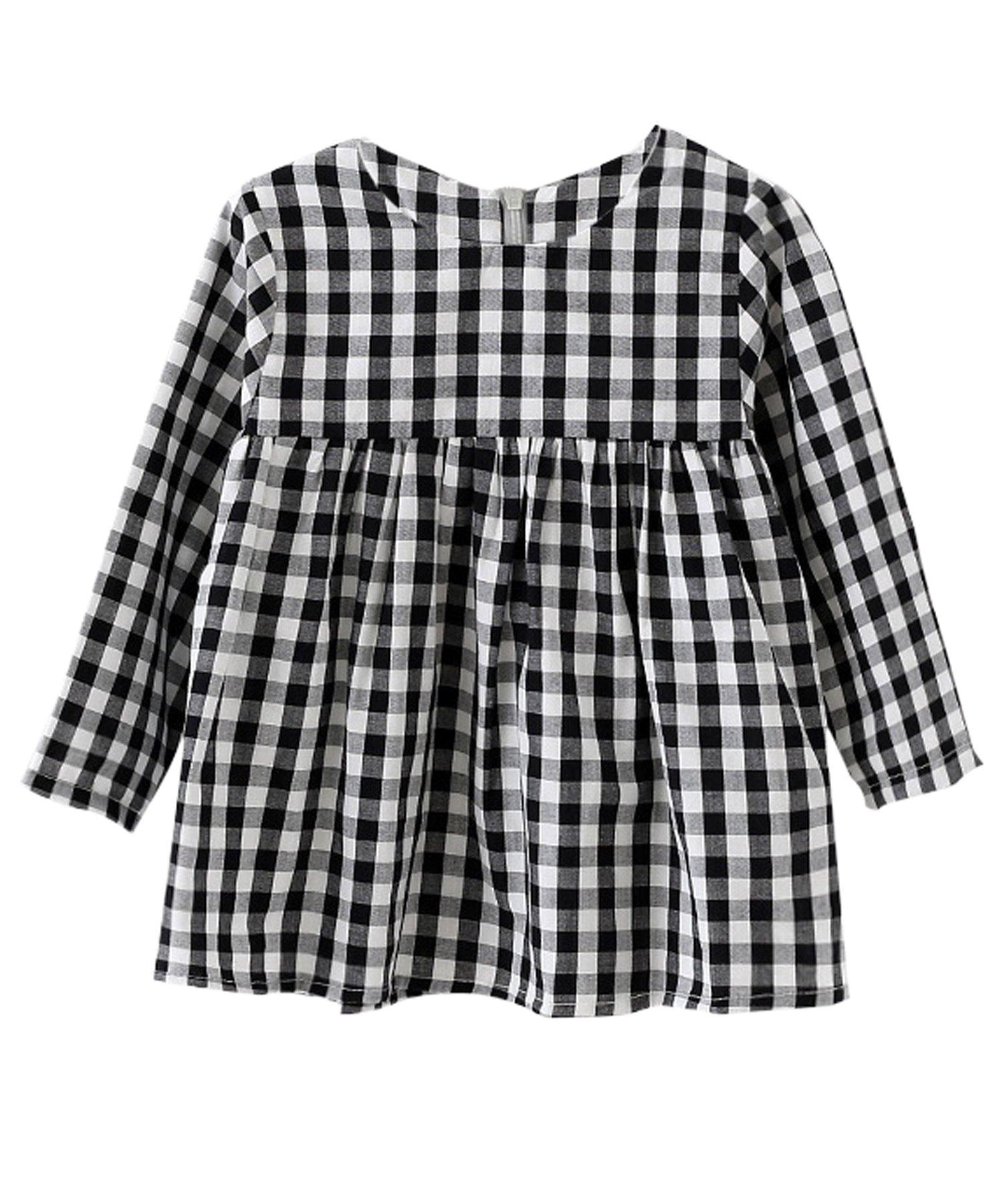 Little Girls High Waist Plaid Dress Black White Long Sleeve Spring Fall Playwear Size 110 (4T) Black Plaid